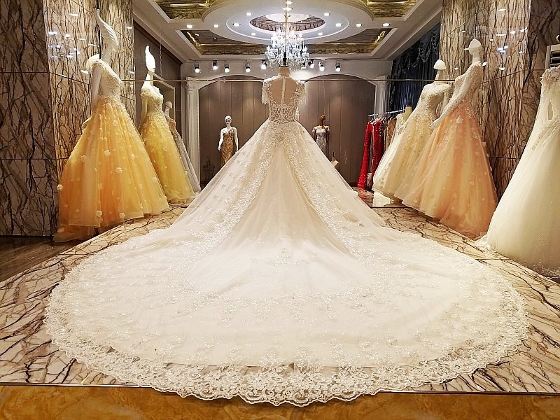 a000dfc66a LS66842 latest wedding gown designs with long train ball gown zipper back  short sleeves bruidsjurken 2017 real photos -in Wedding Dresses from  Weddings ...