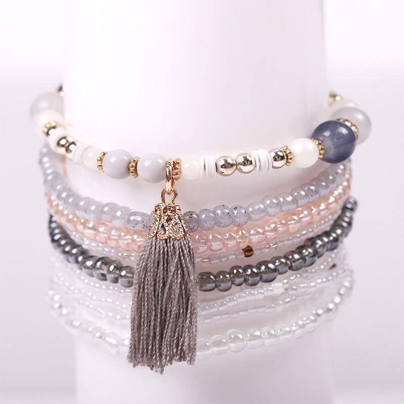 2016 The New 9 PCS/set Women Stretch Bead Bracelet Bohemian Crystal Tassel Bracelet For Women Christmas Gifts