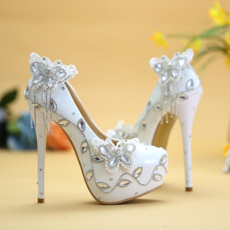 Sparkling butterfly wedding shoes crystal rhinestone bridal shoes bride bridesmaid shoes elegant dresses shoes