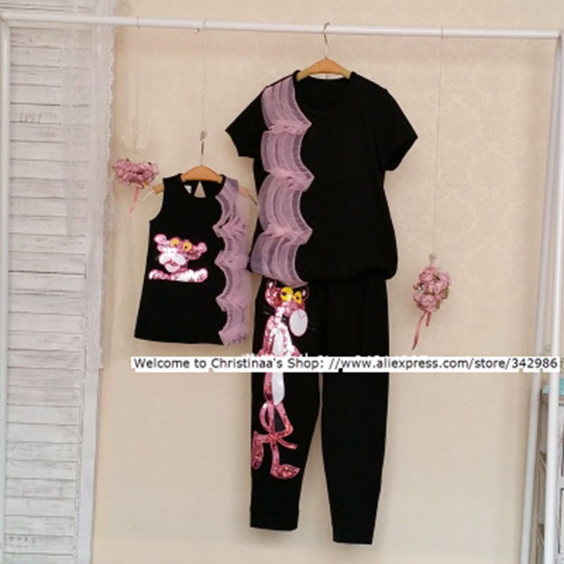 Women brand High Quality 2018 FAMILY clothes Summer Parent-child cartoon fashion mother and daughter dress MOM suits large suit 2014small little girl homemade parent child clothes for mother child bugs bunny cartoon one piece dress baby sweatshirt