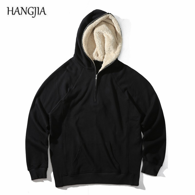 все цены на Mens Half Zipper Plus Velvet Pullover Fleece Sherpa Hoodies Streetwear Side Split Cool Hip-hop Urban Clothing Justin Bieber Tyga