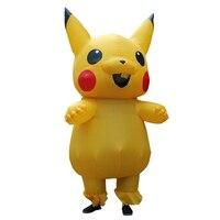 Adult Men Inflatable Costume Christmas Pokemon Pikachu Large Mascot Cosplay Spirit Dress Pikachu Halloween Costumes for Women