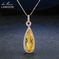 Lamoon Luxury Natural TearDrop Citrine 925 Sterling Silver Chain Pendant Necklace Women Jewelry Rose Gold Plated