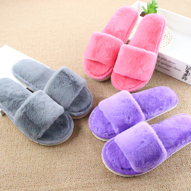 Winter Slippers Women Warm Soft Fur Home Shoes Pantufa Soft Sole Wool Indoor Flat Shoes Female Plush Casual Footwear Chinelo