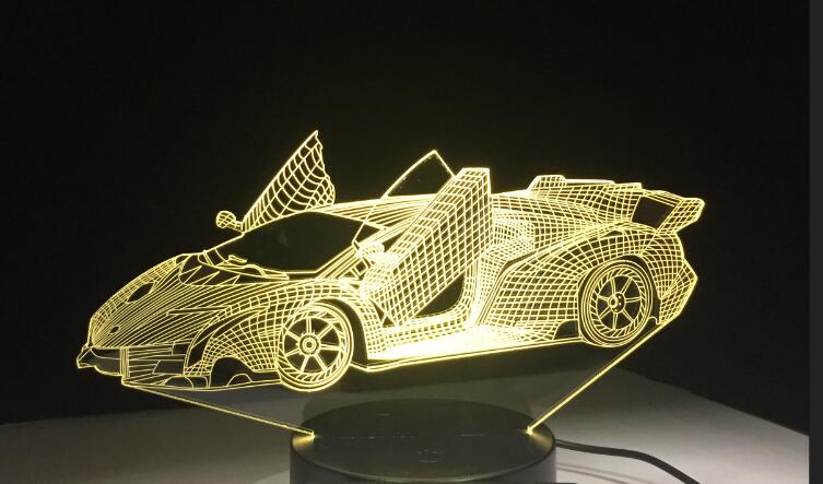 Sports Car 3D Nightlight Colorful Touch LED 3D illusion light with USB Power Visual Atmosphere Lamp Remote Control Drop Shipping