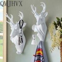 QMJHV Scandinavian style decorative animal head hook deer head wall hanging wall decoration coat hook hook coat hook Resin Craft