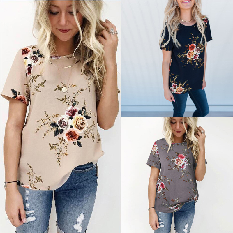 33a9a176a75b Boho Feminina cuello redondo caqui moda 2019 verano camisa Mujer Tops y  blusas Mujer gasa Floral túnica para Mujer Plus tamaño 3XL