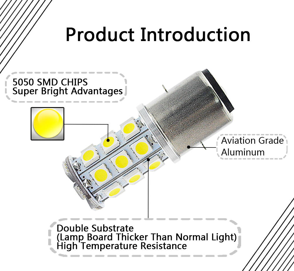 6V 5050 27smd LED Motorrad Scheinwerfer Hohe Abblendlicht dual Licht 540lm Super Helle 4300k Motorrad Kopf Lampe birne H6 BA20D 2Pcs