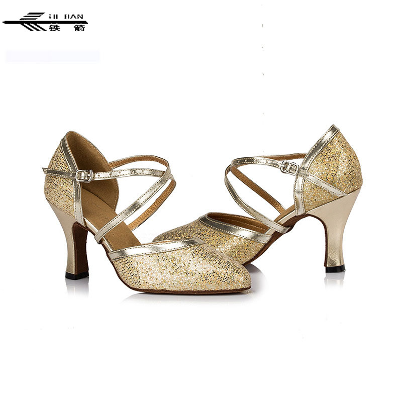 Women Latin Dance Sneakers Gold&Silvery Glitters Med High Heel Suede Outsole Latin Ballroom Dance shoes women latin dance shoes high heel diamond dance shoes latest heels for women ballroom dancing soft outsole xc 6360