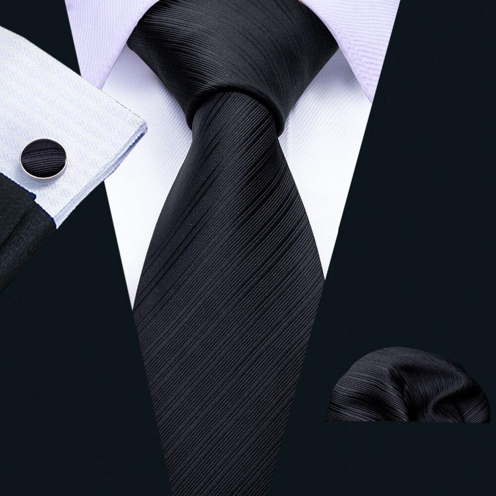 Symbol Der Marke Barry Bekleidung Zubehör Wang Neue Mode Schwarz Solide Herren Krawatten 100% Silk Jacquard Gewebt Klassische Business Party Krawatte Männer Krawatten 8,5 Cm Breite Top Wassermelonen