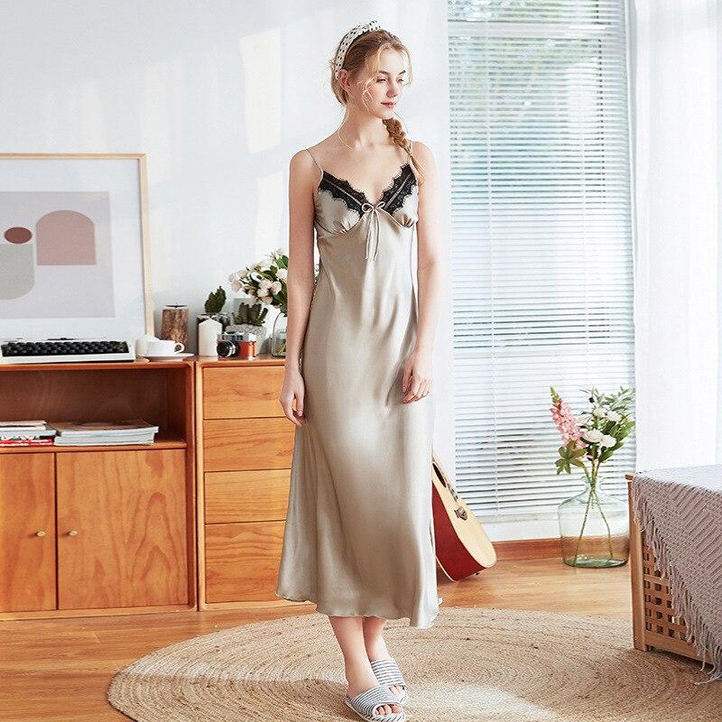 Women Summer Lace Satin Silk Sleepwear Pajamas   Nightgowns     Sleepshirt   Lady Strap Nightdress Lingerie Night Long Dress Underwear