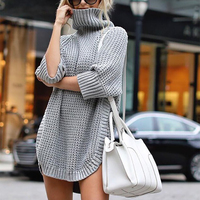 Autumn Winter Women Long sweater turtleneck Half Sleeve pullover Solid Loose knitted Mini sweater dress chompas para mujer