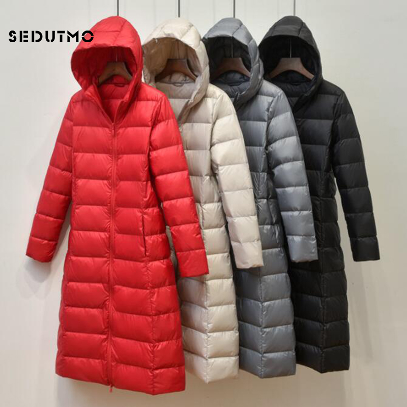SEDUTMO Spring Long Plus Size 3XL Duck   Down   Jackets Women Ultra Light Autumn Hooded   Coat   Puffer Jacket Slim Black Parkas ED776
