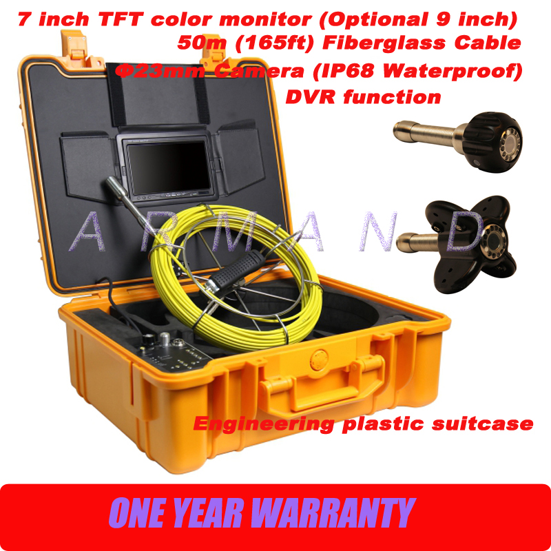 Pipe Sewer Drain Plumbing Air Duct Chimney Tube Inspection Waterproof Camera System 50m Cable DVR image
