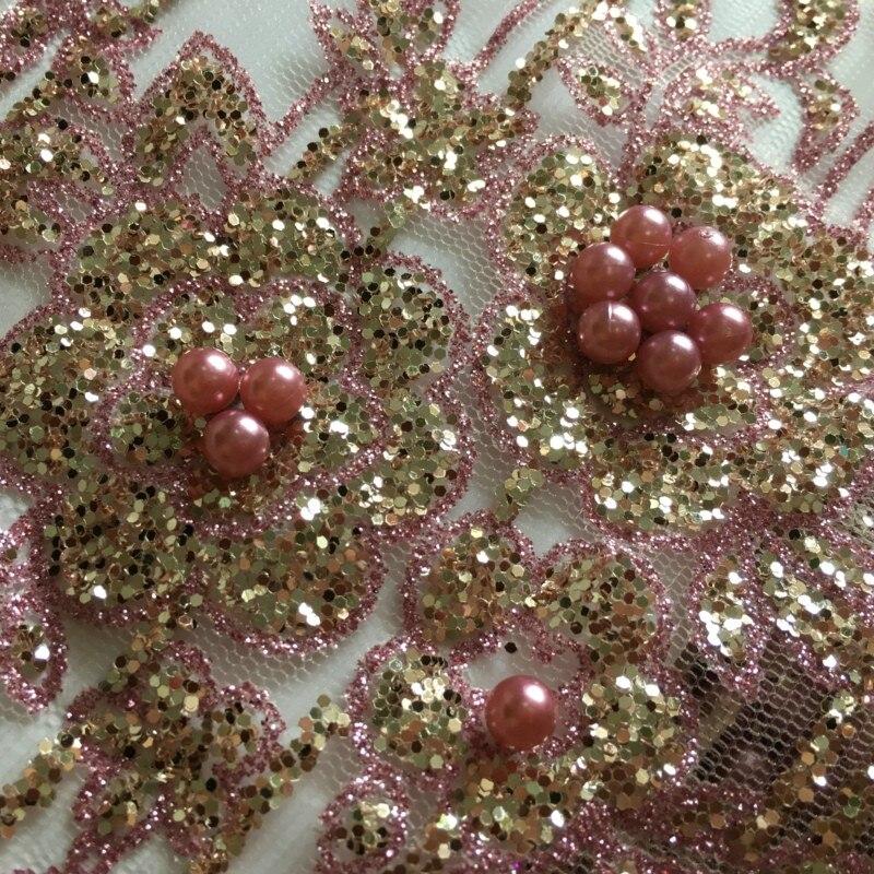 Heißer verkauf Edle perlen mit Voller Geklebt Glitter Pailletten Nigerian Mesh Spitze ZP1, kostenloser Versand Gute Qualität Französisch Net Spitze Stoff-in Spitze aus Heim und Garten bei  Gruppe 3