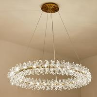 Luxury crystal chandelier round lamp for living room modern Nordic hotel restaurant LED decorative chandelier