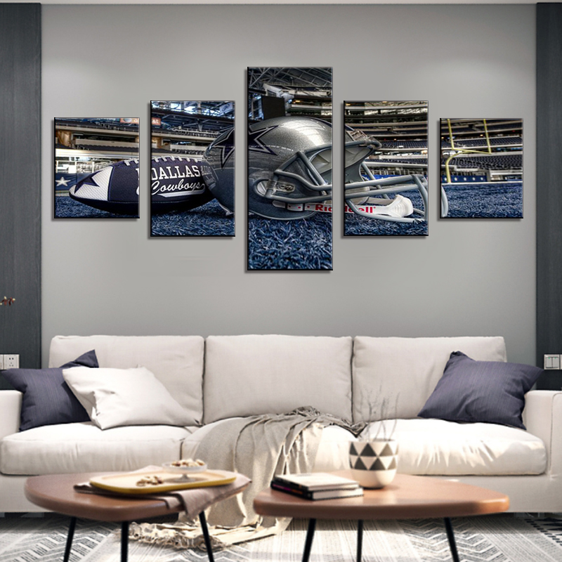 Us 14 56 48 Off 5 Panel Dallas Cowboys Canvas Prints Painting Wall Art Nfl Sport Fans Pictures Modern Artwork Living Room No Frame Home Decor In