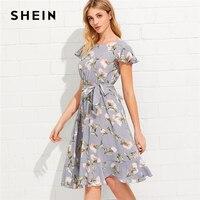 SHEIN Tie Neck Ruffle Hem Calico Dress 2018 Summer Fit And Flare Short Dress Women Cap