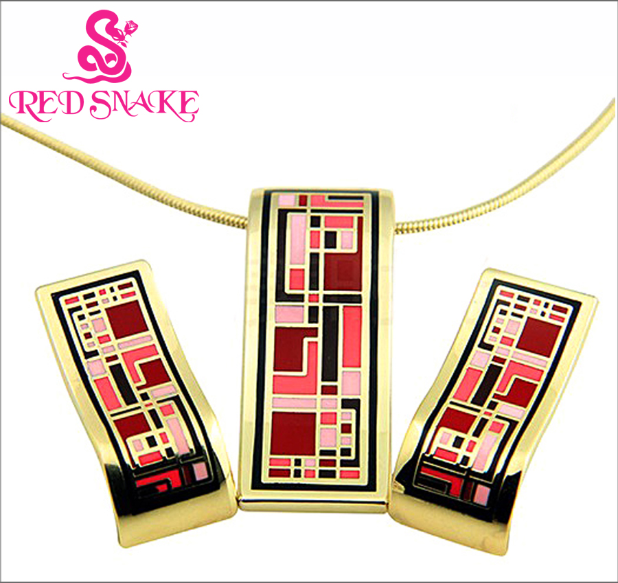 RED SNAKE new design gold plated colorful Geometry pattern Rectangular shape earrings & pendant necklace enamel jewelry set