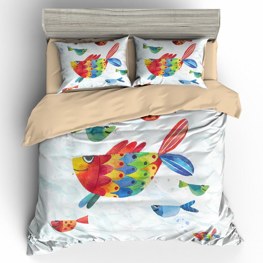 Colorful Fish Duvet Cover Set Hand Drawn Watercolor