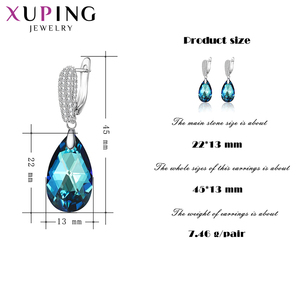 Image 2 - 11.11 Xuping מים Drop עגילי קריסטלים סברובסקי אלגנטי תכשיטי לילדה Wome מפלגה מעודן מתנה M62 20491