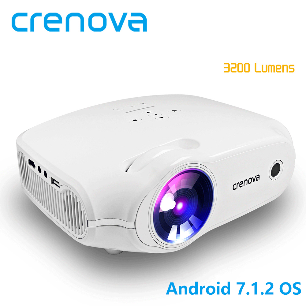 Crenova mais novo projetor led para hd completo 4 k * 2 k projetor de vídeo android 7.1.2 os cinema em casa filme beamer proyector