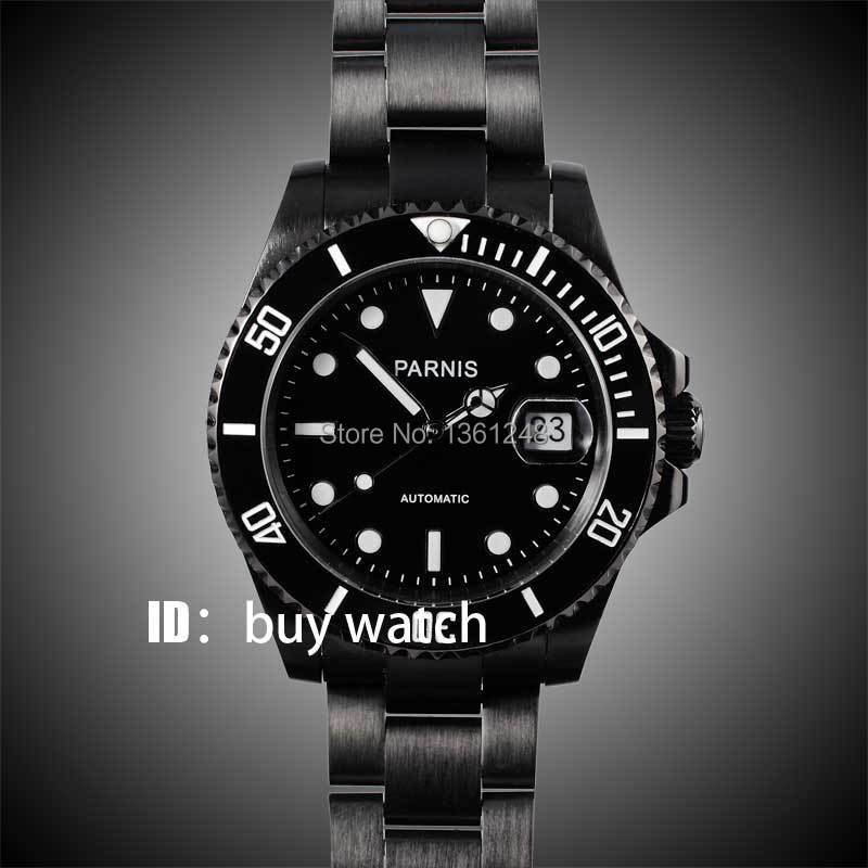 40mm parnis black dial ceramic bezel PVD case luminous vintage sapphire automatic movement mens watch P145 40mm parnis black dial luminous vintage sapphire automatic movement mens watch p143