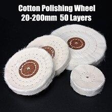 Rueda pulidora de tela de algodón blanco, 50 200mm, joyería dorada y plateada, rueda pulidora de espejo, Agujero interior de 4mm, 50 capas