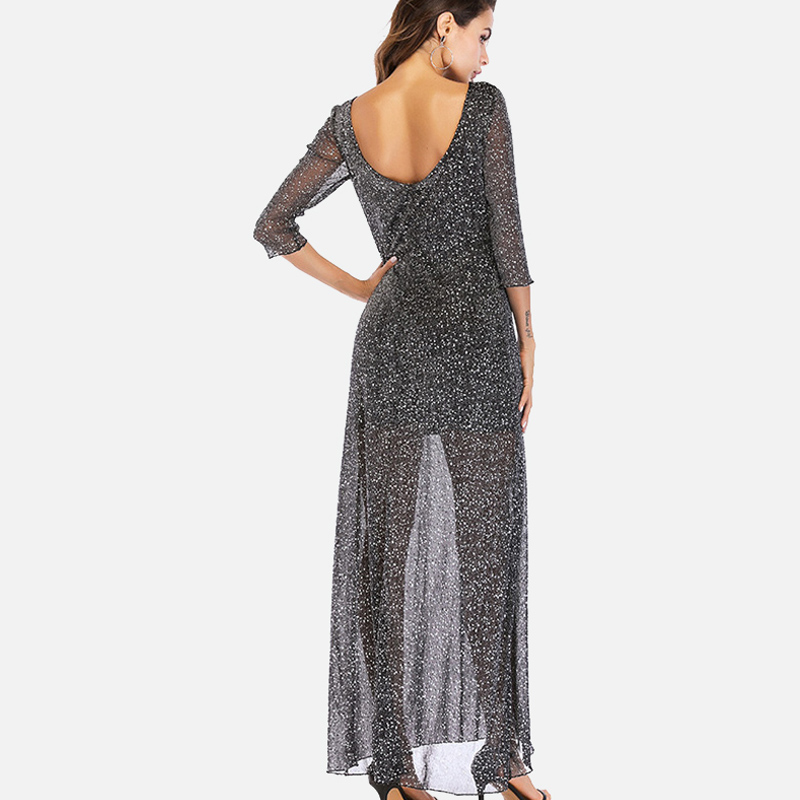 SheBlingBling Black Sheer Fabric Spot Print Glitter Dress Fashion Scoop  Back Women Maxi Dress Three Quarter Sleeve Party Dress-in Dresses from  Women s ... 54fe5f200b33