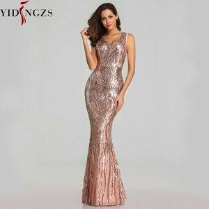 Image 2 - YIDINGZS Neue Formale Pailletten Abendkleid 2020 V ausschnitt Friesen Abend Party Kleid YD360