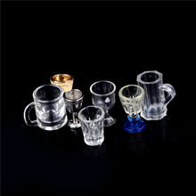 1:12 Scale 1/2Pcs DIY Parts Plastic Transparent Goblet Miniature Mini Wine Beer Cup Dollhouse Craft Home Decoration Glass Model(China)
