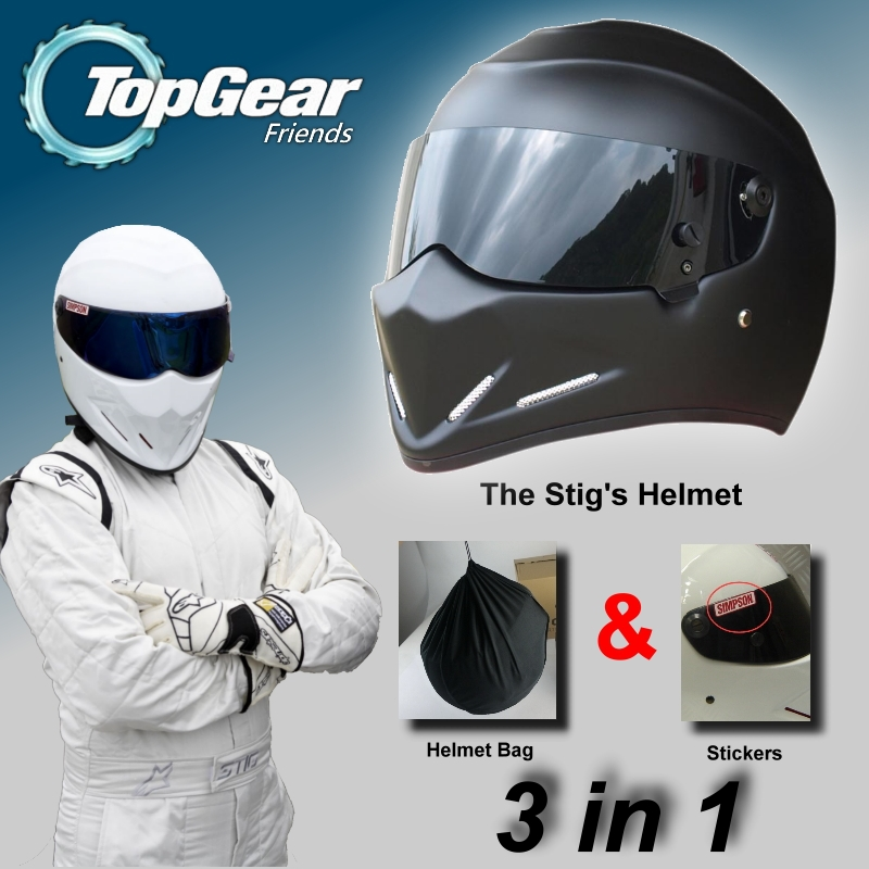 The STIG Helmet Matte Black Capacete Casco De For TopGear / Bag+ SIMPSON Sticker 3in1 / Matte Black Colour with Black Visor лонгслив stig лонгслив