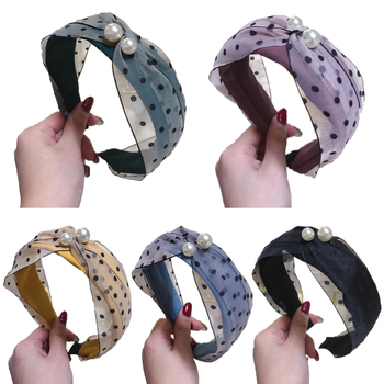 New Contrast Color Cloth Cross Hairband Headband with Pearl for Women Lady Wide Plastic Hair Hoop Bezel new Hair Accessories