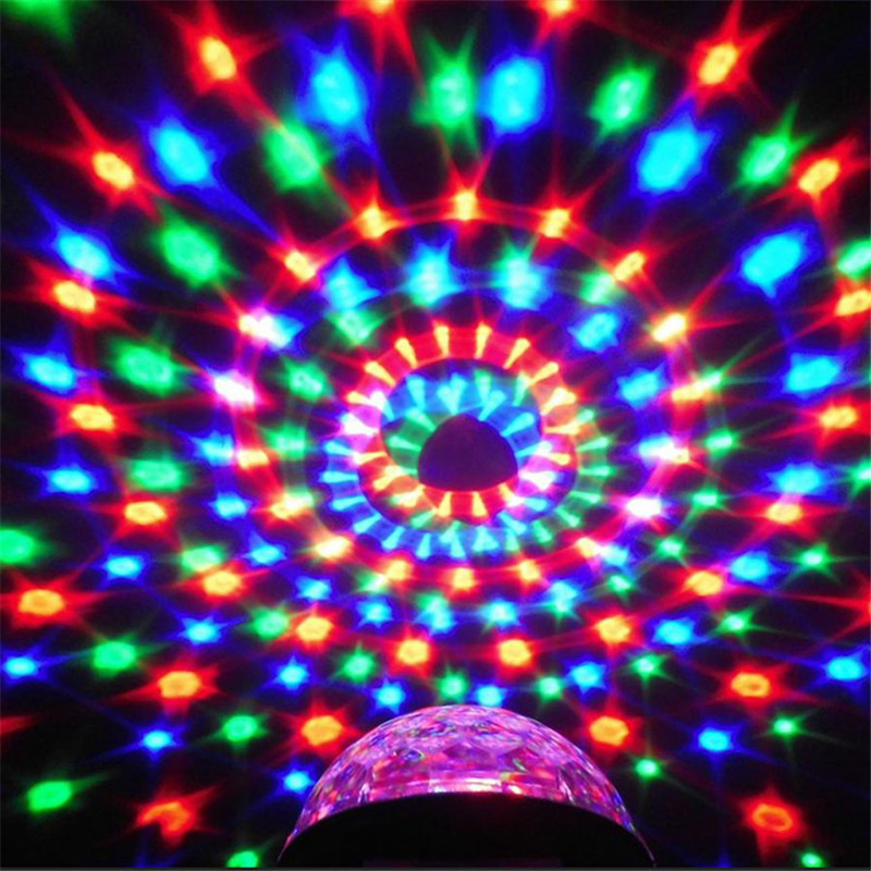 цена на 6W RGB LED MP3 Crystal Magic Ball Stage Effect Light Club Party Lamp DJ Club Disco Party Lighting Music U-Disk SD Remote Control
