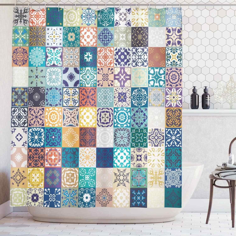 Cortina de ducha marroquí Set Mega Patchwork patrón con diferentes figuras árabes coloridas Original tunecina turquesa amarilla