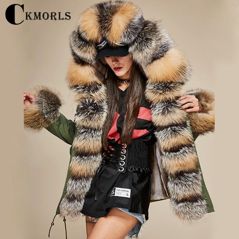 CKMORLS 2018 New Real Fox Fur Parkas For Women Winter Jackets With Collar Casual Coat Natural Long Plus Size