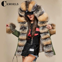 CKMORLS 2018 New Real Fox Fur Parkas For Women Winter Jackets With Fur Collar Casual Coat Natural Fox Fur Long Plus Size Parkas