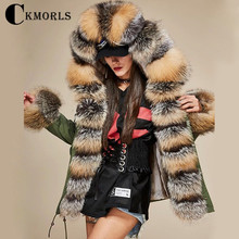 CKMORLS 2018 New Real Fox Fur Parkas For Women Winter Jackets With Fur Collar Casual Coat Natural Fox Fur Long Plus Size Parkas стоимость