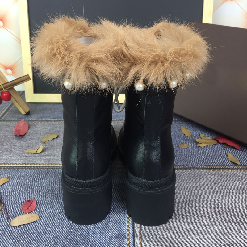US $72.96 52% OFF 2018 Winter Women Motorcycle Boots platform High Heels Botas Mujer pearled cross tied real fur snow Boots Ankle Boots female in