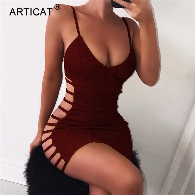 Articat Side Hollow Out Sexy Bodycon Bandage Dress Women Spaghetti Strap V Neck Mini Summer Dress Casual Party Dress Vestidos 3