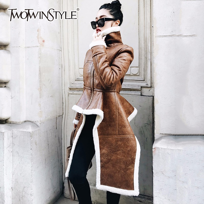 TWOTWINSTYLE Fleece   Trench   Coat For Women Pu Leather High Waist Ruffles Turtleneck Irregular Overcoats 2018 Fashion New Clothing
