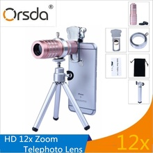 Best price Orsda Universal Clip 12x Zoom Phone Camera Lens Telephoto Lenses With Tripod Holder for iPhone X Samsung Xiaomi Telescope Lentes