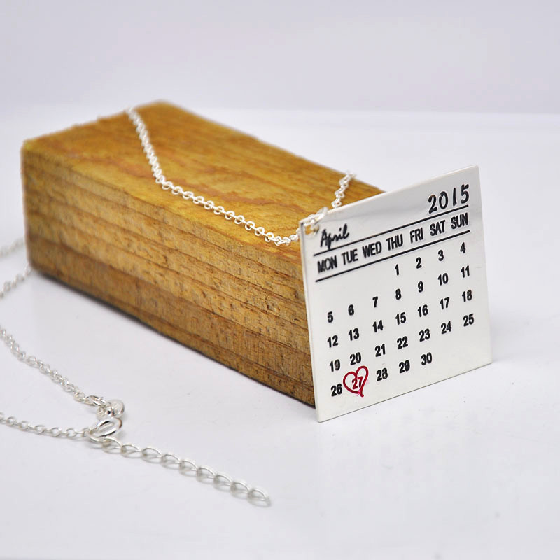 Wholesale Sterling Silver Calendar font b Necklace b font Custom Date Engraved Tag Pendent Heart Keepsake