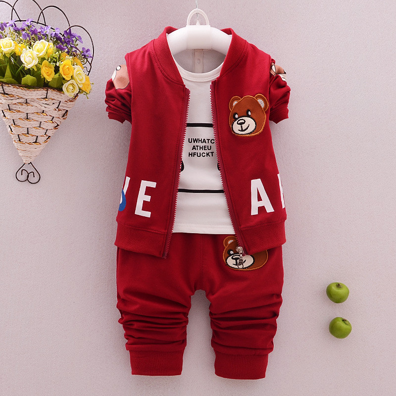 ФОТО The New Hot Hot Style In Autumn Of 2016 Boys Cartoon Three-Piece Suit Sets Of Boys From The Postage Delivery