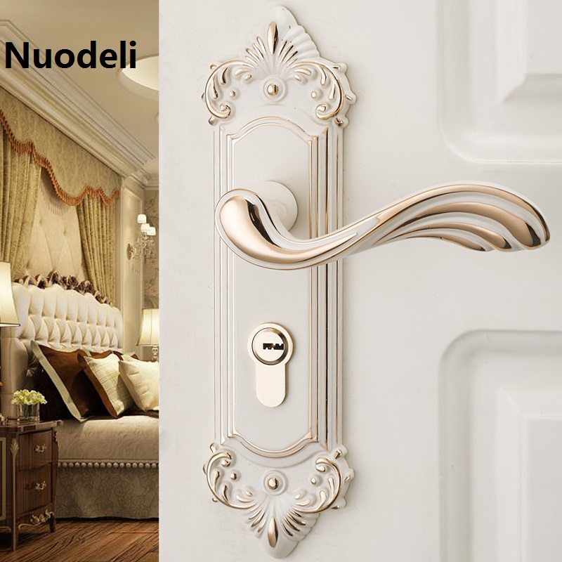 Nuodeli Ivory white European-style indoor bedroom door Handles for door lock home silence mechanical lock european fashion ivory white bedroon door handles antique bronze mute wooden door lock gold indoor locks modern simple