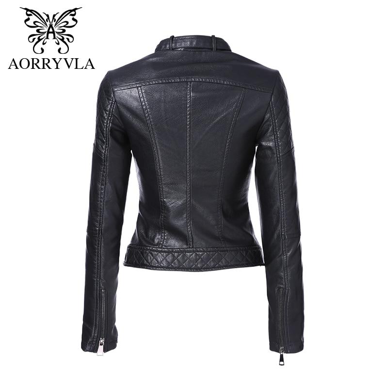 AORRYVLA Brand Faux Leather Jacket For Women Spring 2019 Slim Biker Motorcycle Full Sleeve Zipper Short Length Women's Clothing
