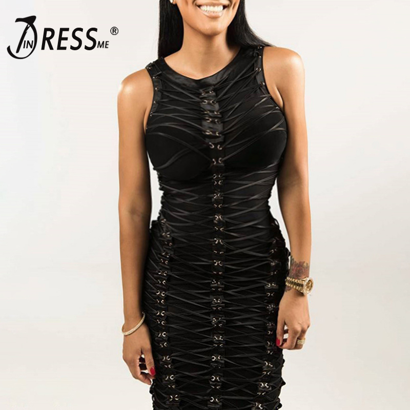 INDRESSME Sexy Lace Up Solid Bodycon Women Bandage Dress Fashion Mini Sleeveless O Neck Zipper Women Party Dress Vestidos  2017