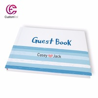 Free shipping Wedding navy blue sailing personalized Guestbook GB018V