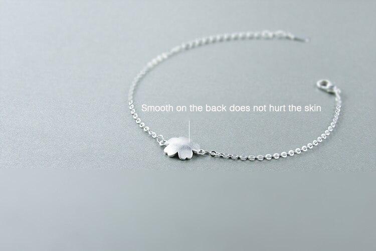 AKOLION Silver Cherry Blossoms Bracelets Charm Flower Bracelets 925 Sterling Jewelry For Girl Women 8