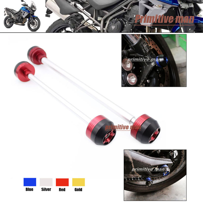 ФОТО Motorcycle For Triumph Tiger 800/XC 2011-2013 Motorcycle Accessories Front & Rear Axle Fork Crash Sliders Wheel Protector Red